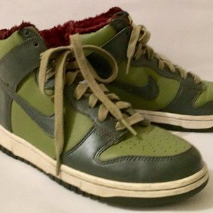 Nike Dunk High Dark Army Green Size 8 Fur Lined